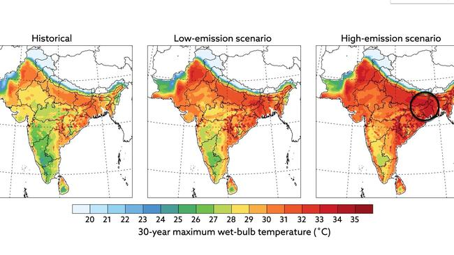 Under a high emission scenario, India could experience heatwaves that cause death within hours by the latter part of this century. Picture: MIT.