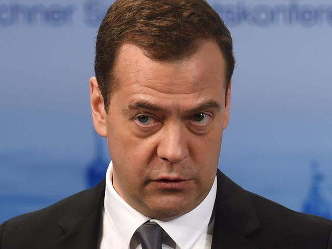 Russian Prime Minister Dmitry Medvedev in Munich on Saturday. Picture: Christof Stache/AFP