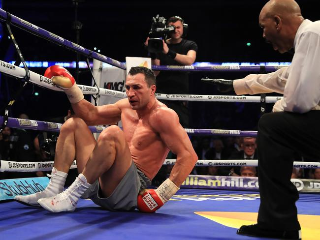 Wladimir Klitschko fought hard but was eventually overwhelmed. (Photo by Richard Heathcote/Getty Images)