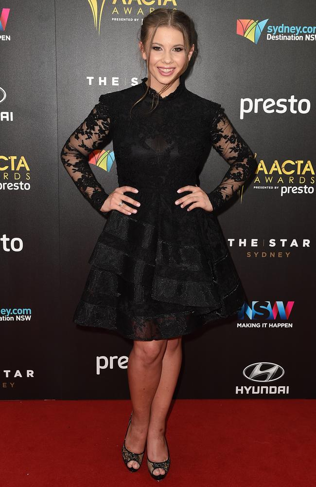 Bindi Irwin arrives ahead of the 5th AACTA Awards Presented by Presto at The Star on December 9, 2015 in Sydney, Australia. Picture: AAP
