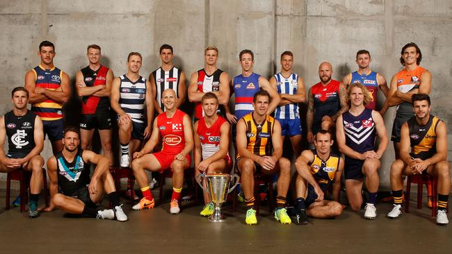A number of good reasons right here why Melbourne loves footy: this year's AFL Club Captains group pic at Etihad Stadium (Photo: Michael Willson/AFL Media)