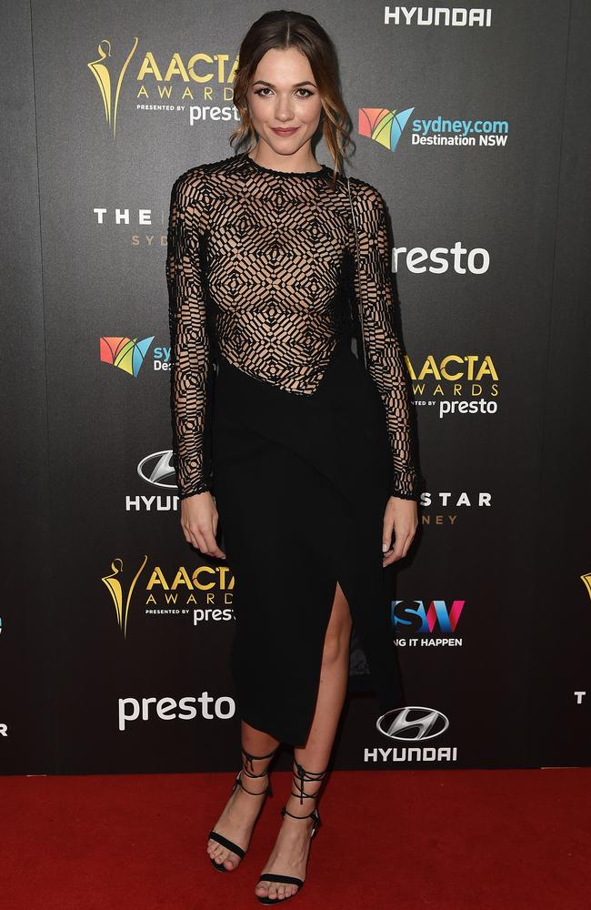 Demi Harman arrives ahead of the 5th AACTA Awards Presented by Presto at The Star on December 9, 2015 in Sydney, Australia. Picture: AAP