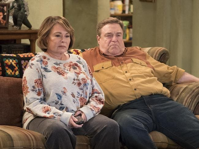 Roseanne Barr with co-star John Goodman in a scene from the reboot of Roseanne. Picture: Adam Rose/ABC via AP