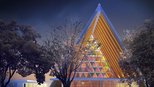 An artist's impression of the new cardboard cathedral in Christchurch, New Zealand to replace the one destroyed in last year's earthquake. Picture: AP Photo/Anglican Diocese of Christchurch