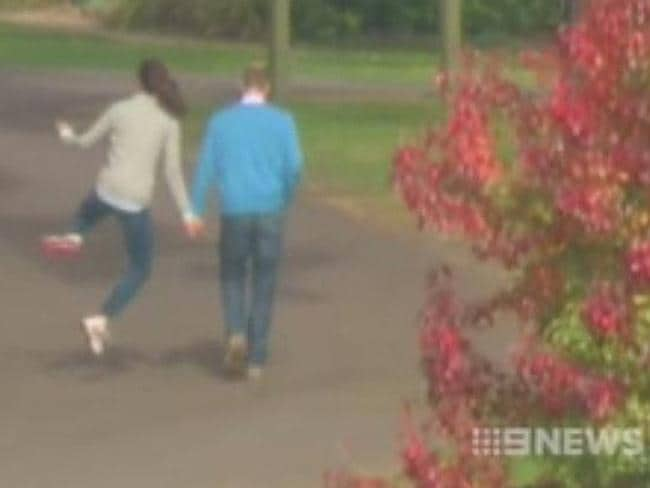 A Channel 9 still, which shows the Duchess of Cambridge clicking her heels on a walk with Prince William.