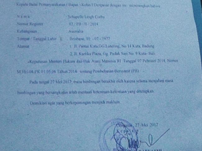 Schapelle Corby's freedom document. Picture: Supplied