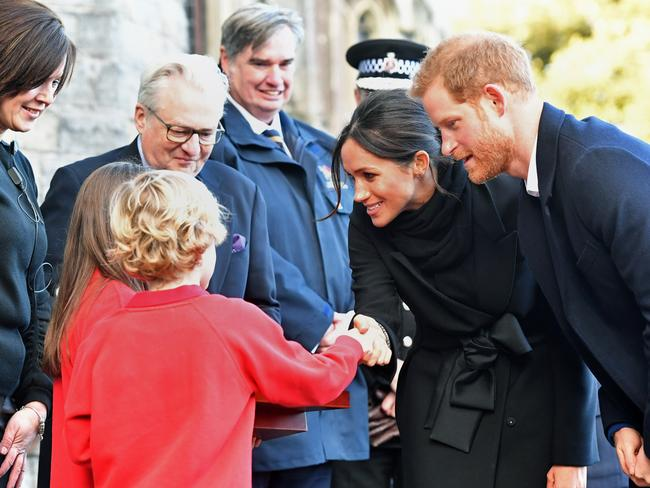 Harry Smith and Megan Taylor meet Prince Harry and Meghan Markle. Picture: Ben Birchall — WPA Pool/Getty Images.