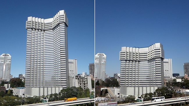 This combo picture, taken on November 10, 2012 (L) and February 20, 2013 (R) shows a shrinking 40 floor luxury hotel Grand Prince Hotel Akasaka in central Tokyo.