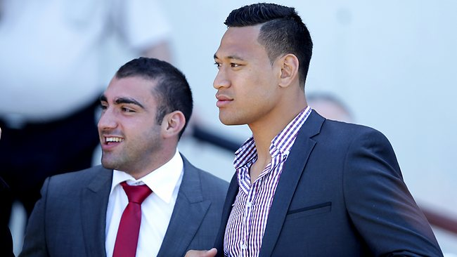 Israel Folau and Parramatta Eels star Tim Mannah at Rosehill Gardens Racecourse last week. Picture: Gregg Porteous