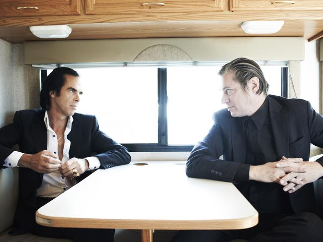 Nick Cave, left, in a scene from the film 20,000 Days On Earth. Picture: Supplied