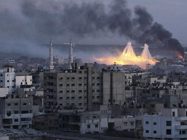 White phosphorus bombs were dropped over the Gaza Strip in 2009. Picture: Reuters/Mohammed Salem