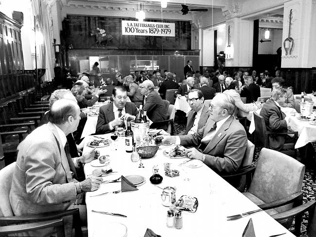 Dinner at the Tattersalls Club in Adelaide, to celebrates its centenary year in 1979. Not a woman in sight.