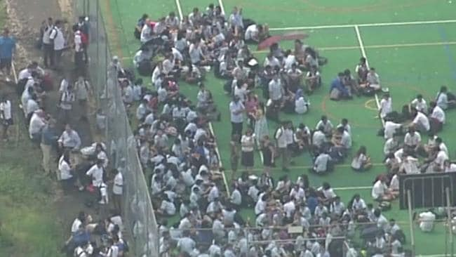 Students at a Penrith School gather at a sporting court. Picture: Channel 7