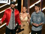 Alex Pall of The Chainsmokers, Halsey, and Andrew Taggart of The Chainsmokers accept Top Hot 100 Song for 'Closer onstage during the 2017 Billboard Music Awards at T-Mobile Arena on May 21, 2017 in Las Vegas, Nevada. Picture: AFP