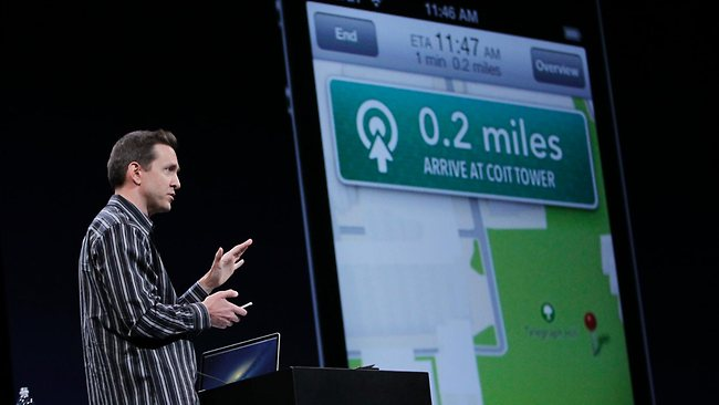 "Apple's Scott Forstall demonstrates ""Turn By Turn Directions"" on OS6 at the Apple Developers Conference in San Francisco. Picture: AP"