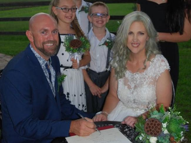 Jennifer and Darren on their wedding day. Picture: Supplied