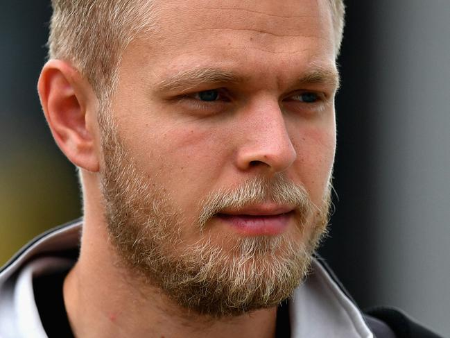 NORTHAMPTON, ENGLAND - JULY 15:  Kevin Magnussen of Denmark and Haas F1 walks in the Paddock before final practice for the Formula One Grand Prix of Great Britain at Silverstone on July 15, 2017 in Northampton, England.  (Photo by Dan Mullan/Getty Images)
