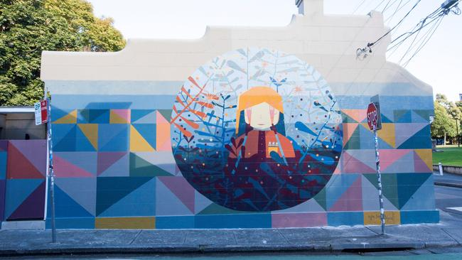 Artwork by street artist Kyle Hughes-Olgers, who was commissioned to paint the walls of this home at 38 Lennox Street in Newtown.