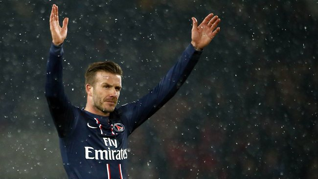 David Beckham will have his first start for his new club in Paris. Picture: AFP