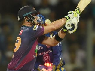 Rising Pune Supergiants captain Steven Smith is bowled out during the 2017 Indian Premier League (IPL) Twenty20 cricket match between Mumbai Indians and Rising Pune Supergiant at The Wankhede Stadium in Mumbai on April 24, 2017. ------IMAGE RESTRICTED TO EDITORIAL USE - STRICTLY NO COMMERCIAL USE----- / GETTYOUT------ / AFP PHOTO / INDRANIL MUKHERJEE / ----IMAGE RESTRICTED TO EDITORIAL USE - STRICTLY NO COMMERCIAL USE----- / GETTYOUT