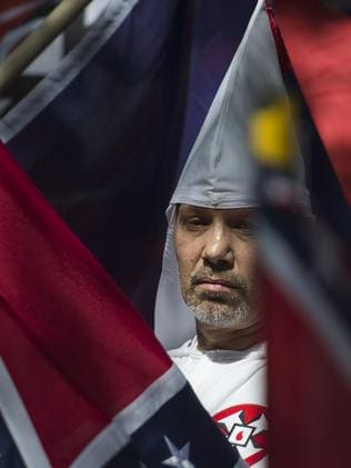 A member of the Ku Klux Klan in Charlottesville, Virginia. Picture: AFP