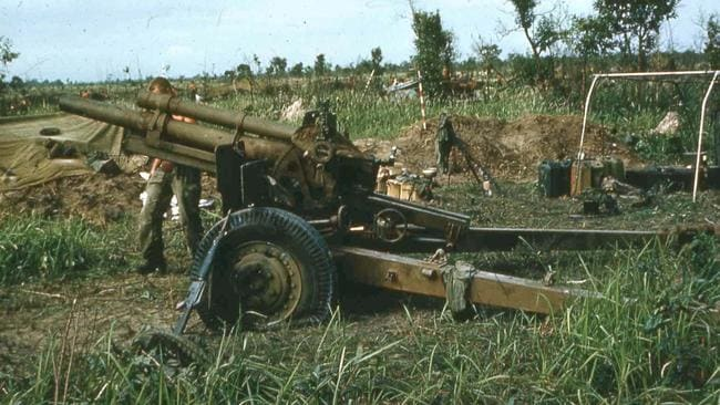 Bravo gun .. at Coral on the morning of May 13, 1968, with two blown tyres and damage to the gun trail. Picture: Supplied
