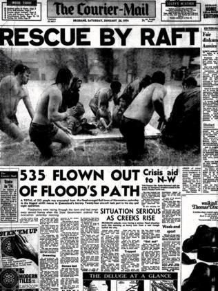 The front page of The Courier-Mail Saturday, 26 Jan 1974.