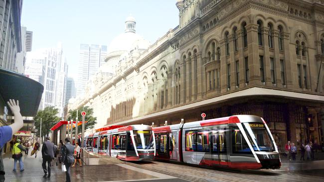 An artists impression of the Sydney Light Rail at the Queen Victoria Building. Picture: supplied.