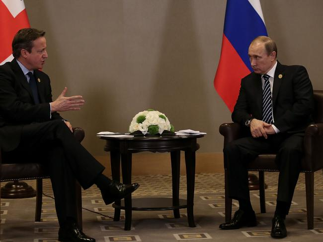 British Prime Minister David Cameron and Russian President Vladimir Putin look uncomfortable at the G20 Turkey Leaders Summit on November 16, 2015, Last year saw relations between Russia and the west deteriorate to Cold War levels.