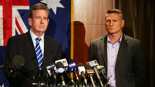 NSW Premier Barry O'Farrell and boxing champion Danny Green launch the TV ad campaign to help curb alcohol-fuell...