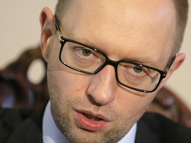 Temporary title ... Ukrainian Prime Minister Arseniy Yatsenyuk talks with reporters during an interview in Kiev. Picture: Efrem Lukatsky