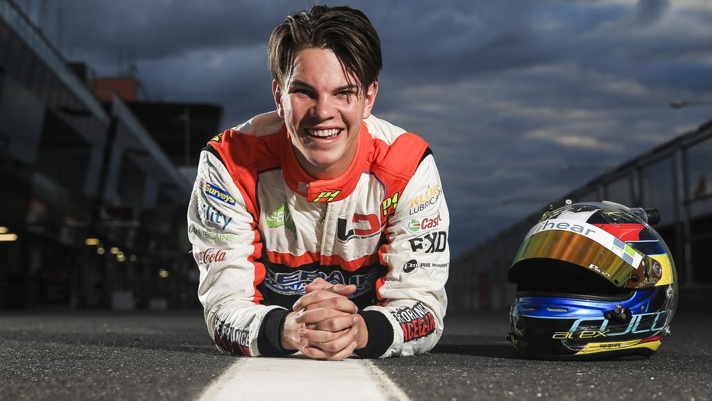 Young driver Alex Rullo, 17, in the pits at the Bathurst 1000. Picture: Dylan Robinson