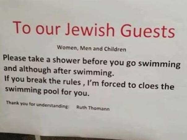 Swiss hotel under fire for antisemitic sign