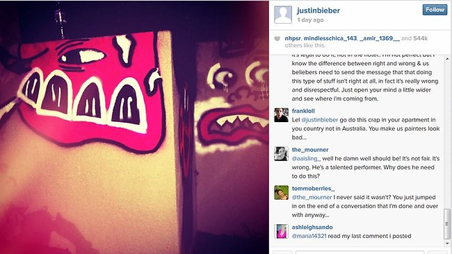 Justin Bieber posted this photo of his Gold Coast grafitti efforts on his Instagram account. Picture: Instagram
