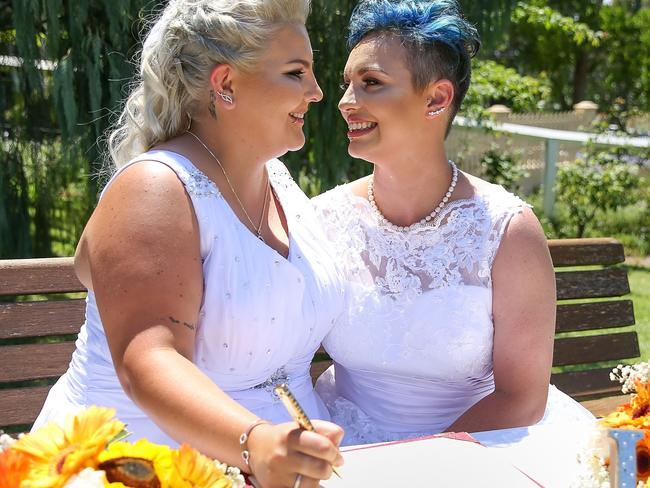 The first two same-sex weddings took place today. Pictured, Sydney couple Amy Laker and Lauren Price. Picture: Caroline McCredie/Getty Images