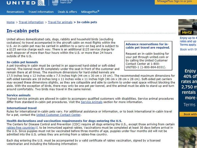 United's rules on travelling with pets. Picture: Screenshot