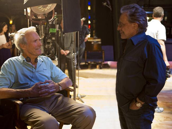Clint Eastwood chats with Frankie Valli on the set of  <i>Jersey Boys</i>.