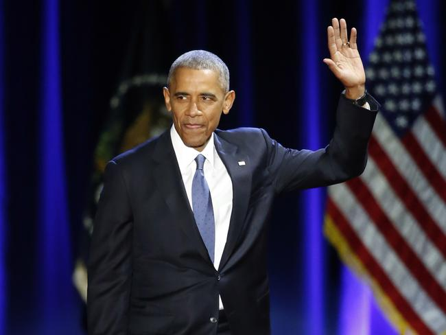 End of an era: Preside Obama thanks audience members for attending his final address. Picture: AP
