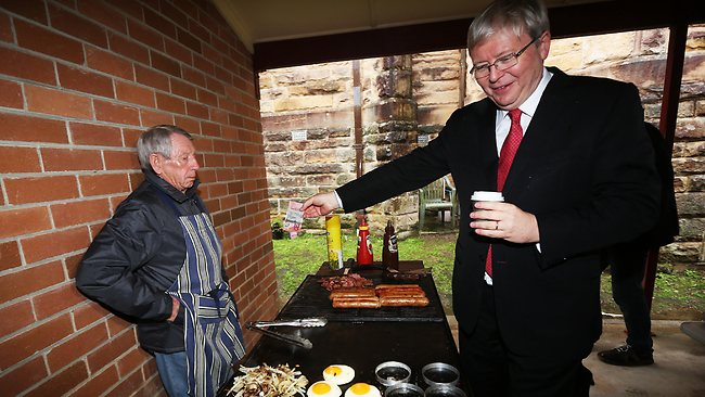 Prime Minister Kevin Rudd didn't win over everyone on his visit to the Blue Mountains today. Picture: Miller Kristi
