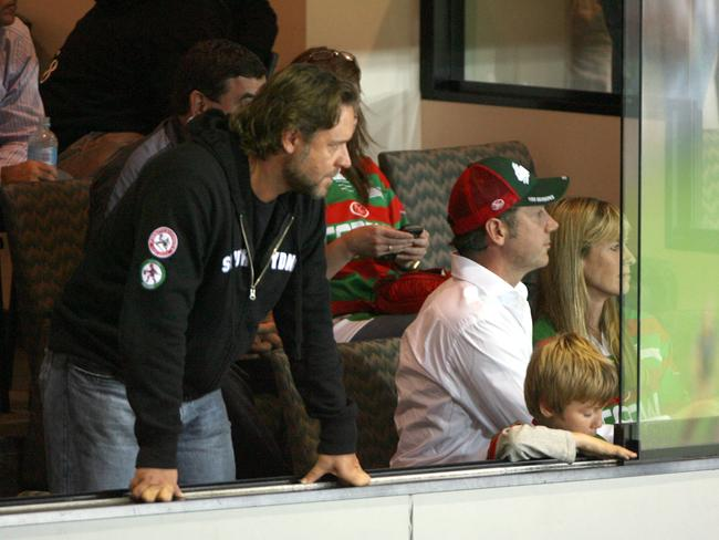 Russell Crowe pictured with Terri Irwin (far right) at a rugby league game in Sydney in 2007. Picture: Sarah Marshall