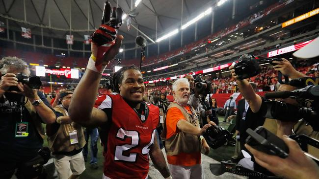 Devonta Freeman #24 of the Atlanta Falcons reacts after the beating the Seattle Seahawks.