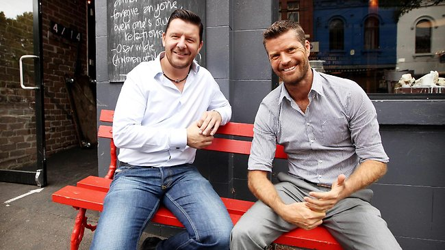 STL Pub date: 27/01/2013 Page: - 23/01/2013 STL HUMAN INTEREST: Sunday Telegraph. The My Kitchen Rules Judges, Pete Evans and Manu Feildel, are pictured at Colin Fassnidge's restaurant Four Fourteen in Surry Hills today. Pic. Tim Hunter N21581710 Picture: Tim Hunter