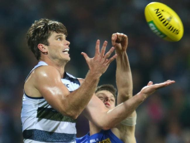 Geelong's Tom Hawkins booted a career-high seven goals against Brisbane.