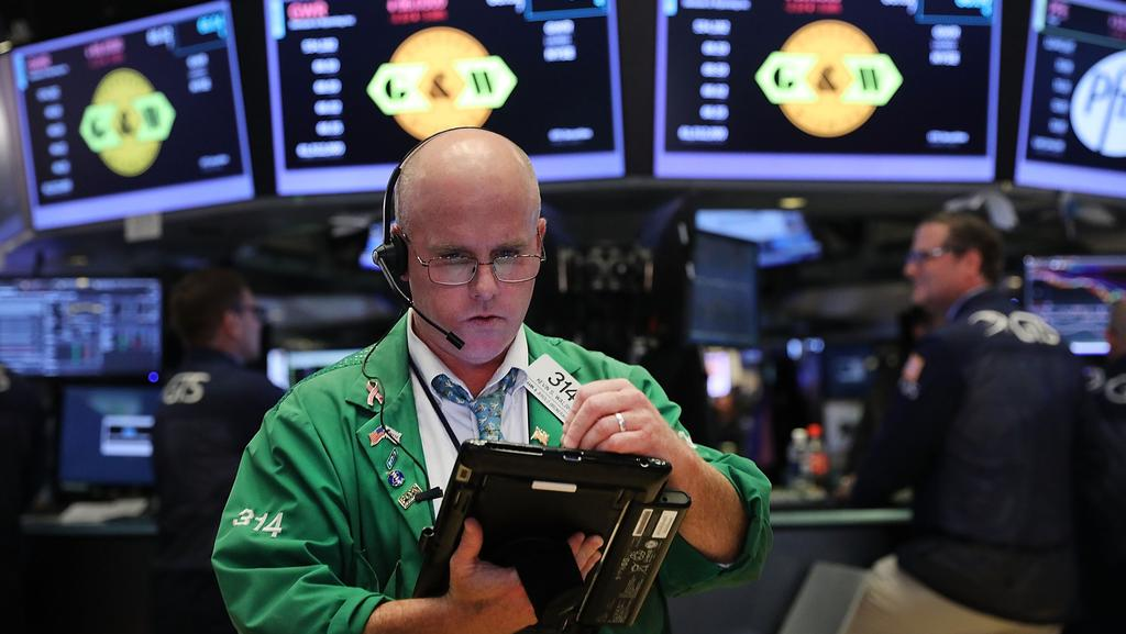 Traders work on the floor of the New York Stock Exchange. Picture: Spencer Platt/Getty Images/AFP