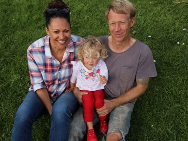 Going strong...Aminah Hart and partner Scott Andersen with their daughter Leila have been together for one year now. Picture: Anthony Sines ACS