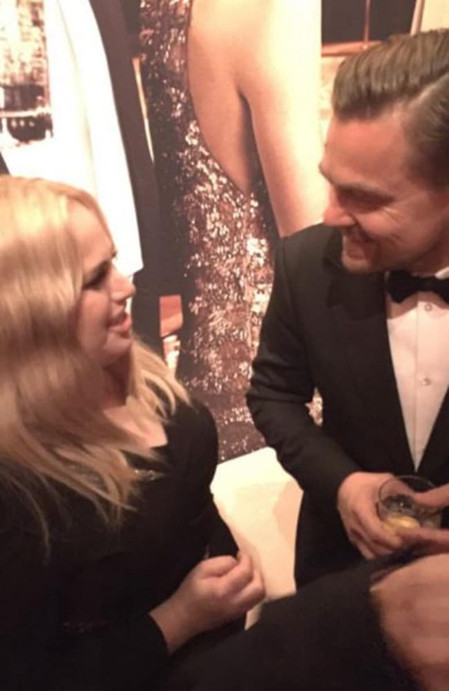 "Aussie actress Rebel Wilson tweeted this cute snap of her with Leo, saying on Twitter: ""Love you @LeoDiCaprio X congrats!!"" Picture: Rebel Wilson/Twitter"
