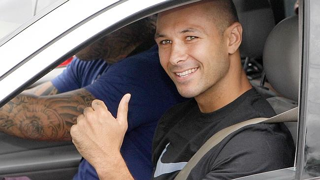 James Kisina, Schapelle Corby's half brother, leaves with friends from Rosleigh Rose's house in Loganlea, on the day of Schap...