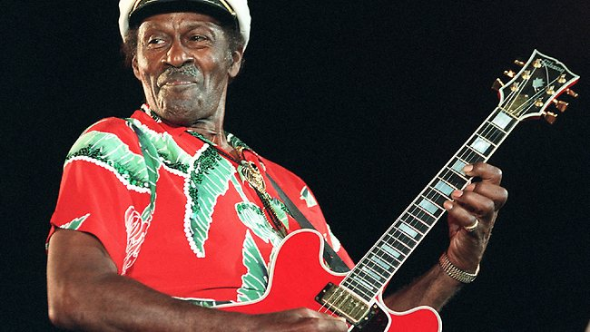 American singer-guitarist Chuck Berry performs at the Nice Jazz Festival in July 1998.