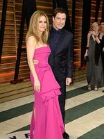 Actors Kelly Preston and John Travolta attend the 2014 Vanity Fair Oscar Party. Picture: Getty