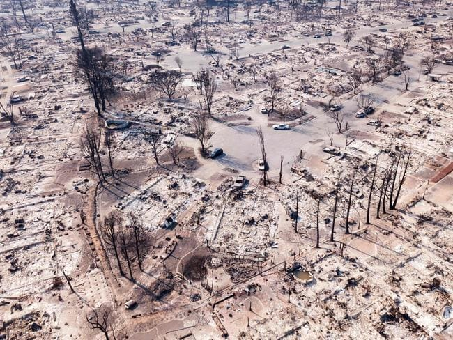 Fire damage is seen from the air in the Coffey Park neighbourhood October 11, 2017, in Santa Rosa, California Picture: AFP / Elijah Nouvelage